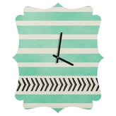 Deny Designs Allyson Johnson Mint Stripes and Arrows Quatrefoil Clock