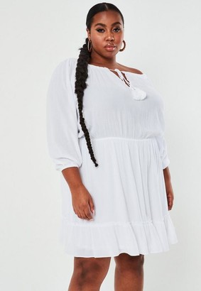 Missguided Plus Size White Crinkle Bardot Tassel Mini Dress