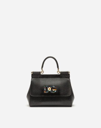 Dolce & Gabbana Small Calfskin Sicily Bag With Iguana-Print And Crystal Logo Patch
