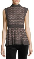 M Missoni Sleeveless Lurex® Greek Key Knit Peplum Top