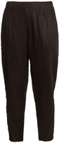 PLEATS PLEASE ISSEY MIYAKE Tapered-leg pleated cropped trousers