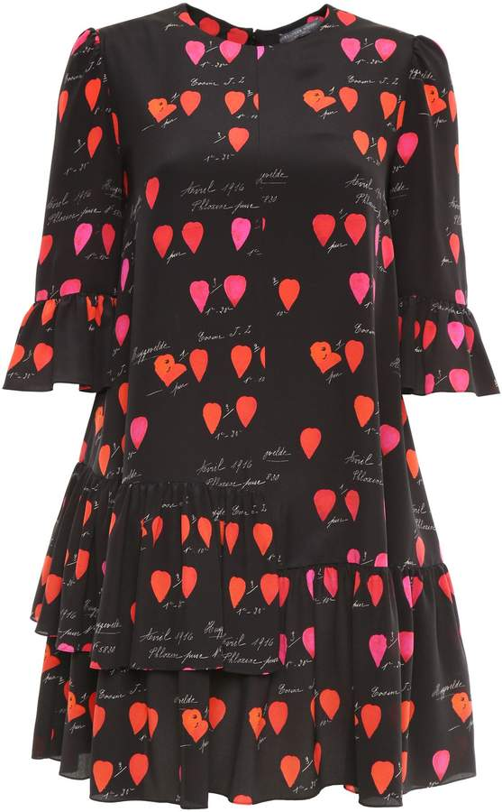 Alexander McQueen Petal Print Ruffled Dress