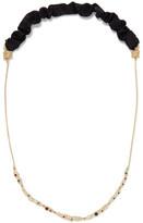 Maje Satin Twill-Trimmed Hammered Gold-Tone Swarovski Crystal Necklace