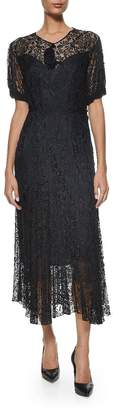 Vintage Black Silk Antique Lace Dress