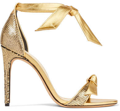 Alexandre Birman Clarita Bow-embellished Metallic Sequined Leather Sandals - Gold