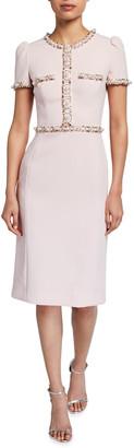 Jenny Packham Ines Jewel-Trimmed Sheath Dress