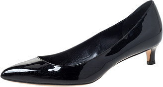 Gucci Black Patent Leather Kitten Heel Pointed Toe Pumps Size 37.5