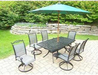 Basile August Grove 7 Piece Dining Set August Grove Umbrella Color: Green
