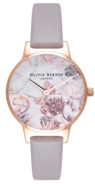 Olivia Burton Women's Marble Floral Gray Lilac Leather Strap Watch 30mm