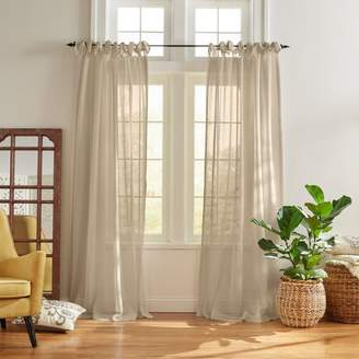 "Vienna Tie-Top Sheer Curtain Panel, 52"" x 84"""