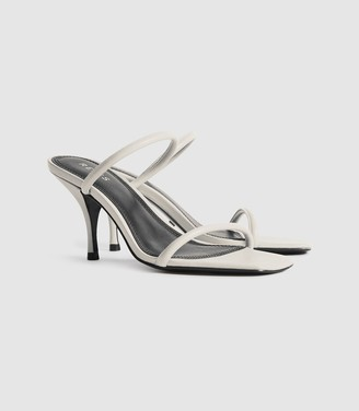Reiss Magda - Leather Strappy Heeled Sandals in White
