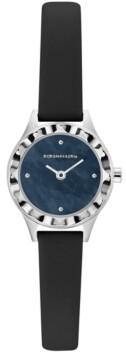 BCBGMAXAZRIA Ladies Round Black Genuine Leather Strap Watch, 24mm