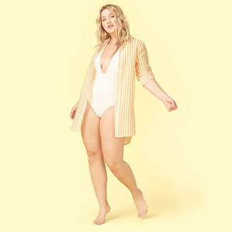 Summersalt The All Buttoned Up Cover-Up - Mango & White Sand