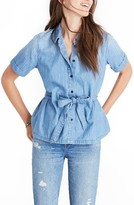 Madewell Women's Denim Tie Waist Shirt