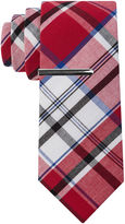 Jf J.Ferrar JF Cotton Madras Tie and Tie Bar Set - Extra Long