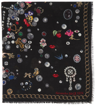 Alexander McQueen Black Brooches and Buttons Scarf