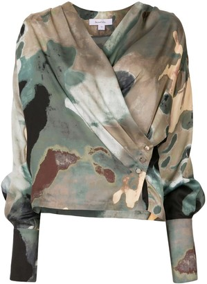 Beaufille Abstract Print Wrap Blouse