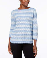 Alfred Dunner Silver Bells Metallic Pointelle-Knit Sweater