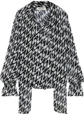 Diane von Furstenberg Tina Tie-neck Printed Silk-georgette Blouse