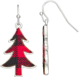 Holiday Silver-Tone Flannel Tree Drop Earrings