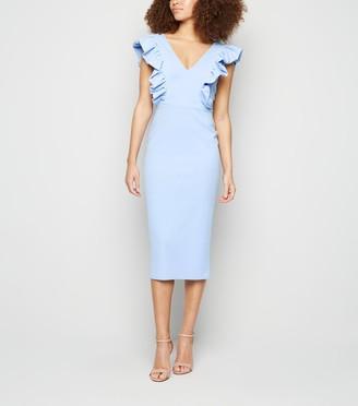 New Look Ruffle Trim V Neck Midi Dress