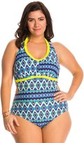 Jessica Simpson Plus Swimwear Plus Size Tie Dye For Cut Out Halter One Piece Swimsuit 8140042