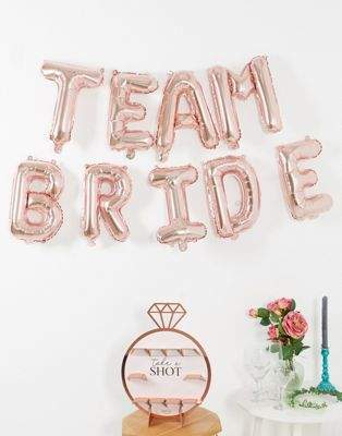 Ginger Ray rose gold team bride letter balloon bunting