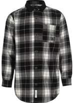 River Island Boys black check long sleeve shirt