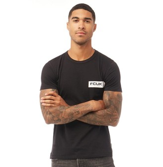 French Connection Mens Left Print T-Shirt Black/White