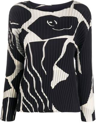 Issey Miyake graphic patterned pleated blouse