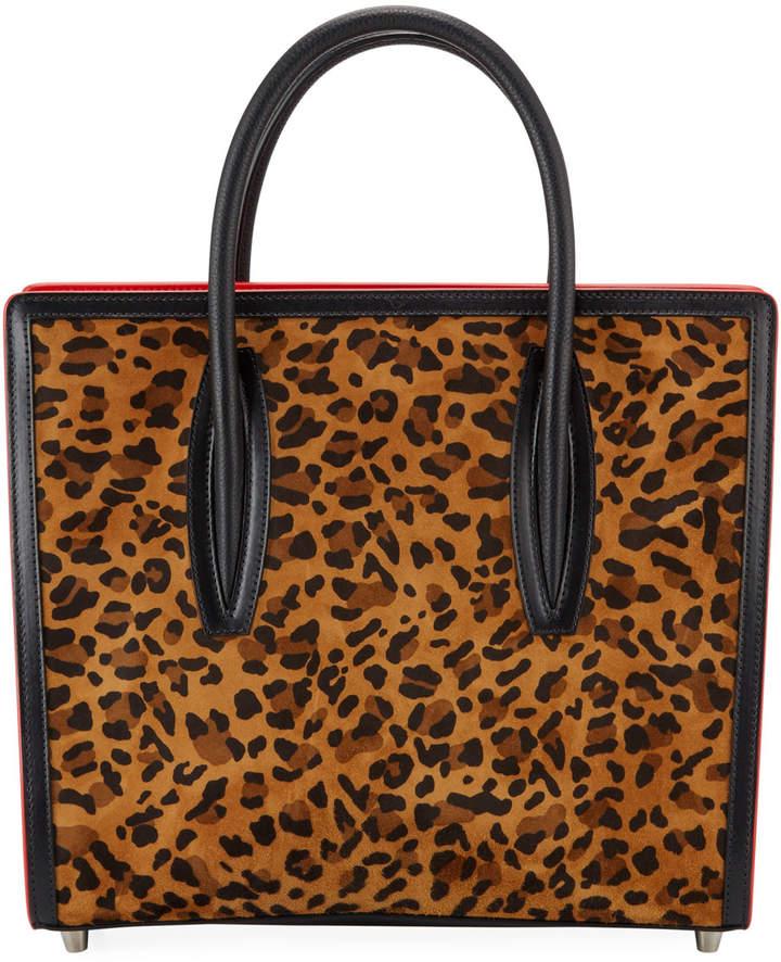 Paloma Leopard Suede Canvas Tote Bag