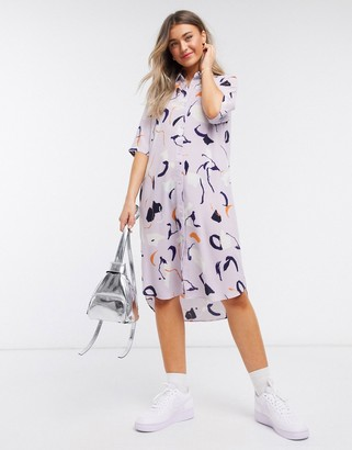 Monki Damira art print midi shirt dress in pink
