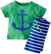 PAPAkid® Toddler Kids Boys Cotton Summer Nautical Shirt + Shorts 2pcs Suit (Navyblue)