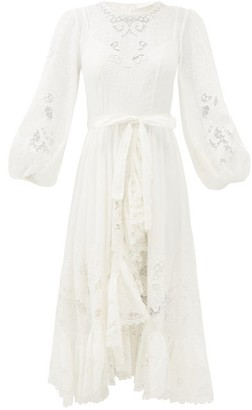 Zimmermann Lulu Balloon-sleeve Broderie-anglaise Dress - Ivory