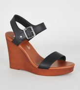 New Look Leather-Look 2 Part Wood Wedges