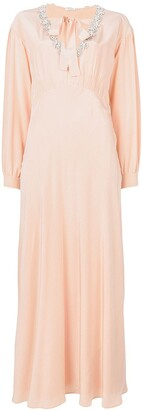 Miu Miu Embellished Neck Maxi Dress