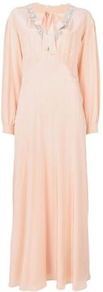Miu Miu embellished neck maxi dress
