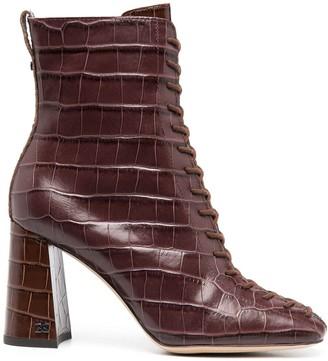 Sam Edelman Lace-Up Croc Effect Boots