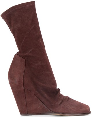 Rick Owens High Wedge Heel Boots