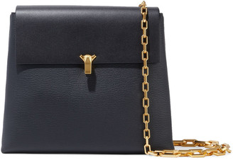 THE VOLON Po Day Smooth And Pebbled-leather Shoulder Bag