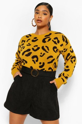 boohoo Plus Leopard Knitted Sweater