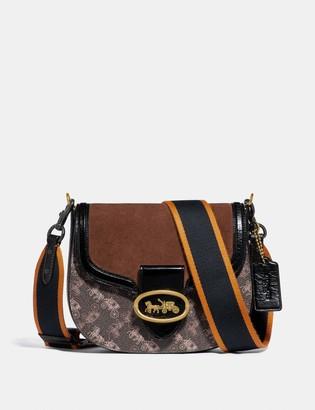 Coach Kat Saddle Bag 20 With Horse And Carriage Print