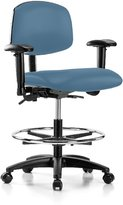 "Perch Multi-Task Office Chair with Wheels Adjustable Armrests Back Support and Footring 20"" - 27"" (Hard Floor Casters/)"