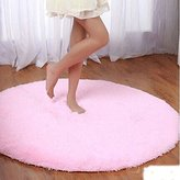 """Princess Dream Round Shaggy Area Rugs and Carpet Super Soft Bedroom Carpet with a Heart Rug,for Kids Play ,Round 47.2"""" (Pink)"""