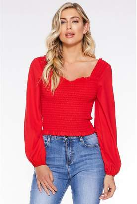 Quiz Red Long Sleeve Shirred Crop Top