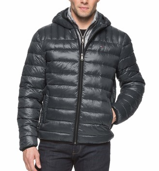 Tommy Hilfiger Men's Size Tall Ultra Loft Insulated Packable Jacket with Contrast Bib and Hood