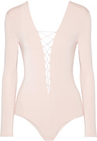 Alexander Wang Lace-up Stretch-modal Jersey Bodysuit - Blush