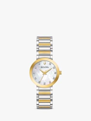 Bulova 98P180 Women's Modern Diamond Bracelet Strap Watch, Gold/Silver
