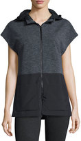 Elie Tahari Aria Hooded Terry/Tech Combo Vest, Charcoal/Black