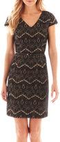 Liz Claiborne Short-Sleeve Belted Lace Sheath Dress